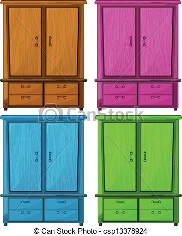 Of A Wooden Cabinet   Illustration Of    Csp13378924   Search Clipart