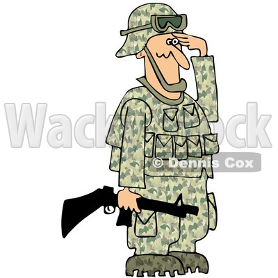 Of An Army Soldier Holding A Gun And Saluting   Royalty Free Clipart