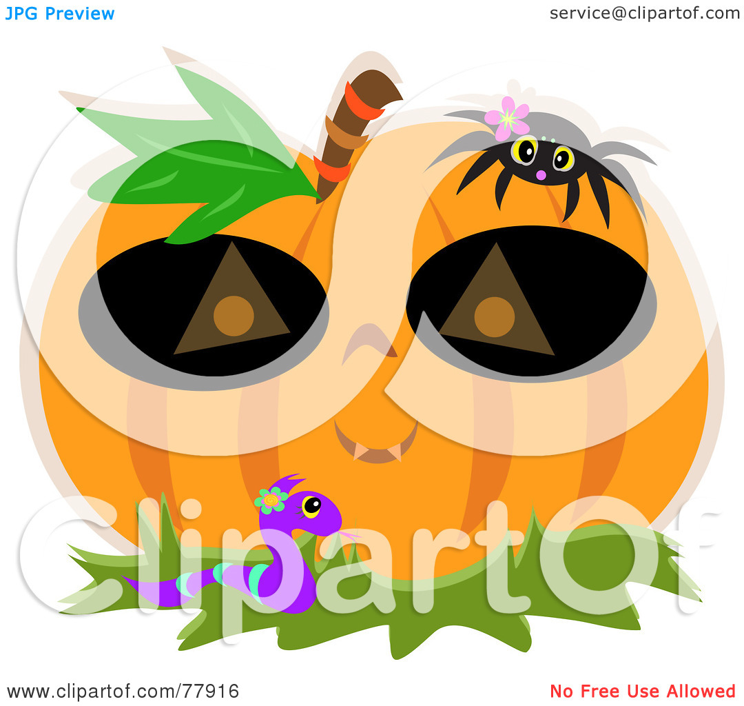 Royalty Free  Rf  Clipart Illustration Of A Halloween Pumpkin Wearing