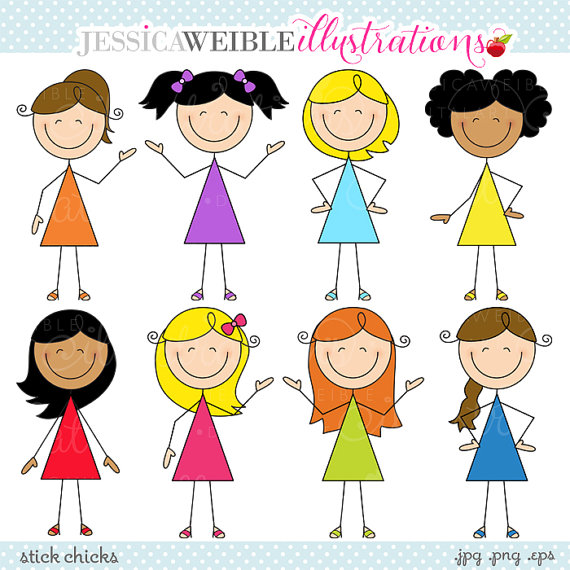 Stick Chicks Cute Digital Clipart   Commercial Use Ok   Girl Stick
