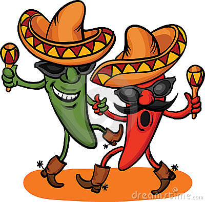 Two Dancing Cartoon Mexican Peppers Stock Image   Image  22748011