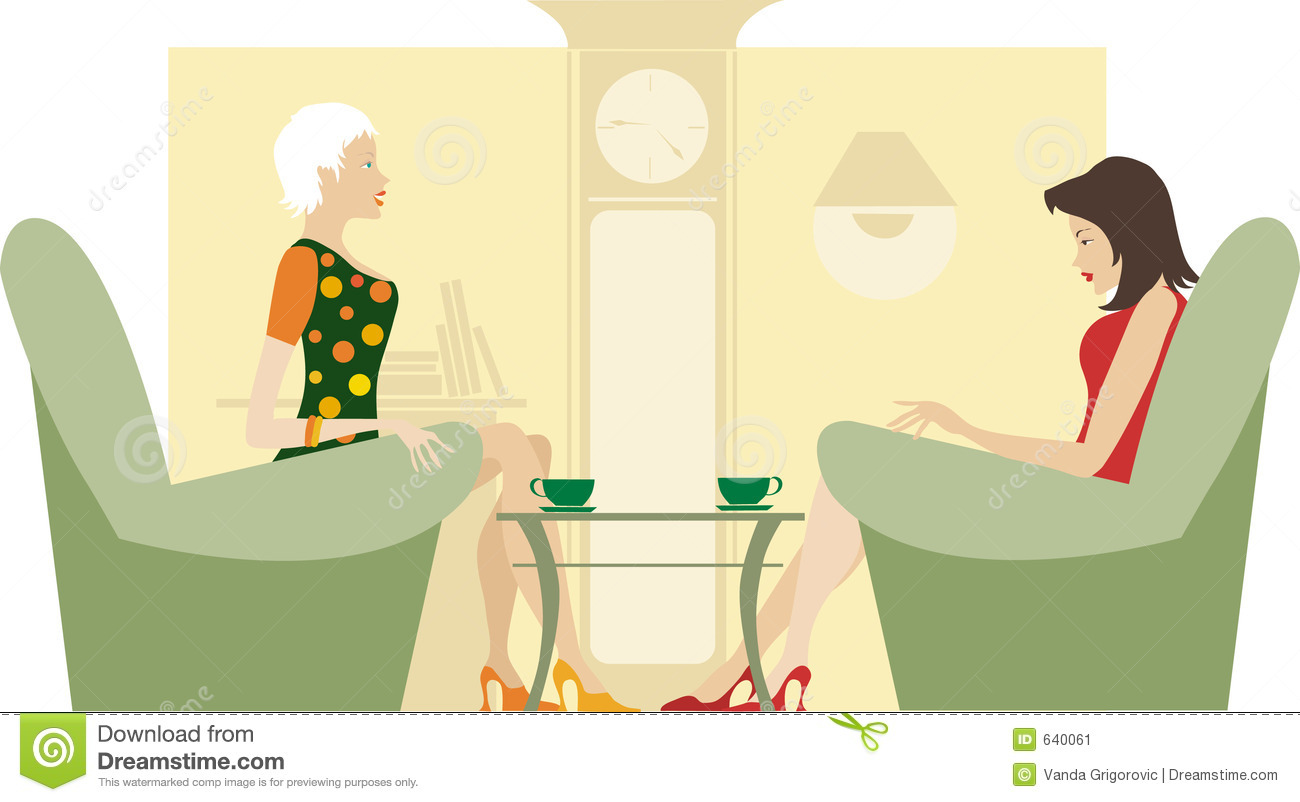 Two Ladies Sitting And Talking Stock Image   Image  640061