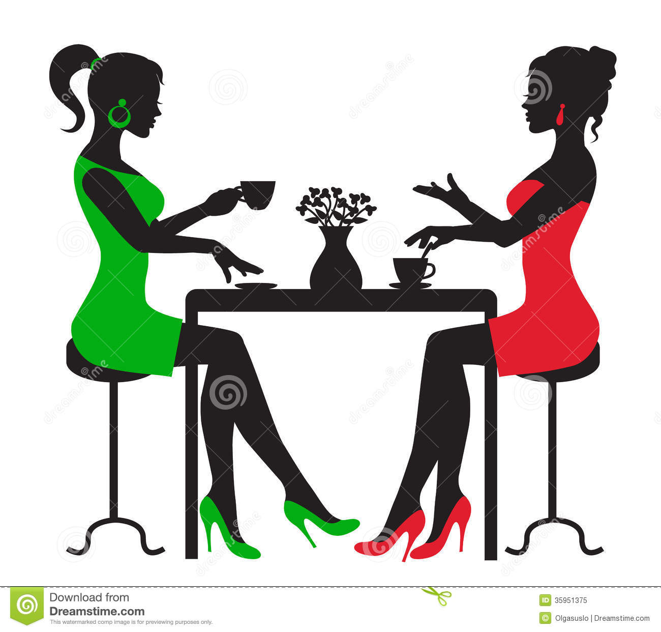 Two Women Drinking Coffee At A Table Royalty Free Stock Photo   Image