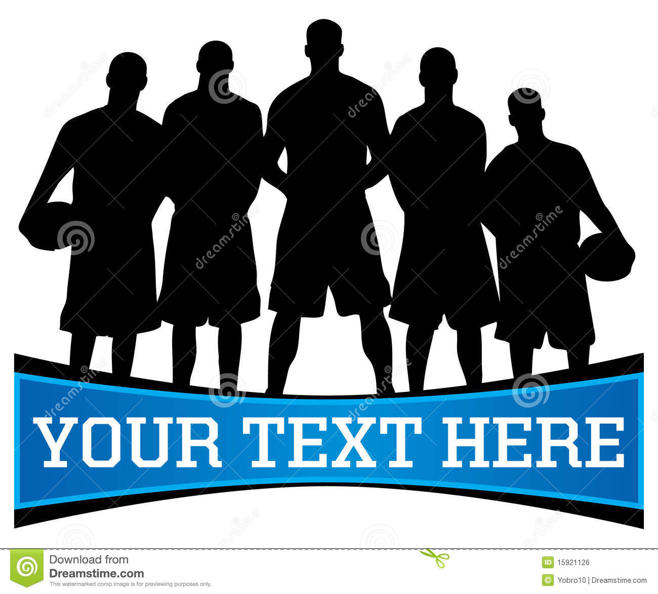 Vector Illustration Of A Basketball Team Silhouette With Copy Space