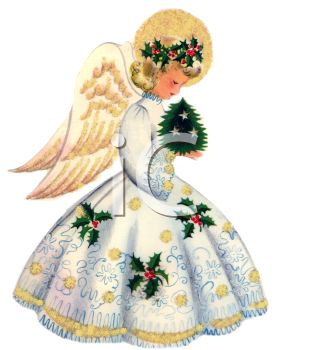 Vintage Angel With Golden Wings Holding A Tiny Christmas Tree