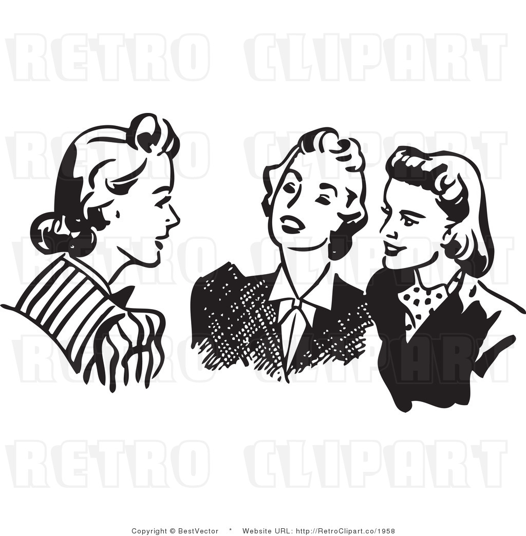 White Retro Vector Clip Art Of Ladies Talking By Bestvector    1958