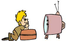 Toddlers Watching TV Clip Art
