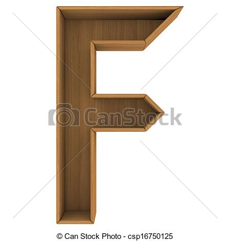 Wooden Cabinet Letter  Isolated Render On A White Background