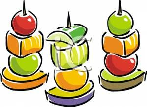 Appetizer Clip Art   Fruit On Skewers Clipart