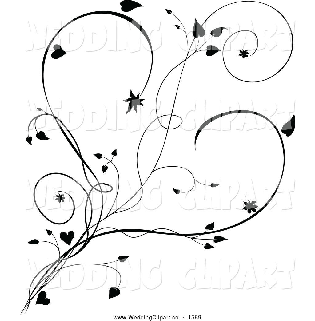 Black And White Vine And Hearts Black And White Vines With Butterflies