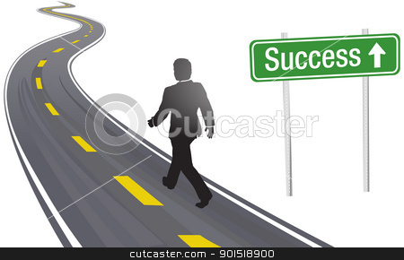 Business Man Walk Road Sign To Success Stock Vector Clipart Business