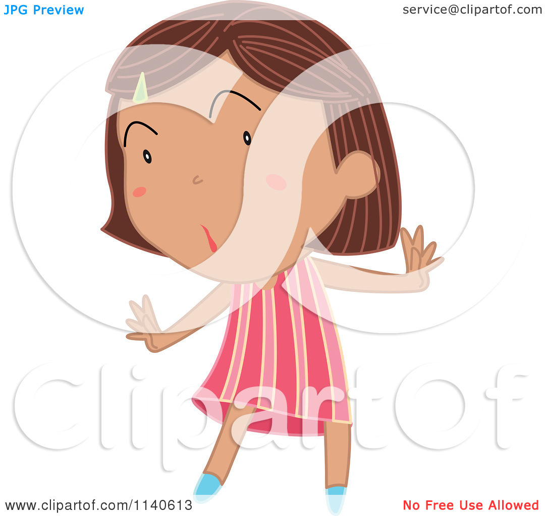 Cartoon Of A Surprised Brunette Girl In A Pink Stripe Dress   Royalty