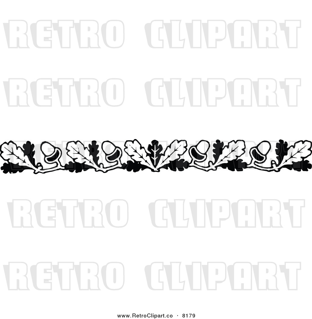 Clipart Of A Retro Black And White Oak Leaf And Acorn Border By Prawny