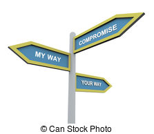 Different Way Or Compromise   3d Road Sign Of Text My Wayr