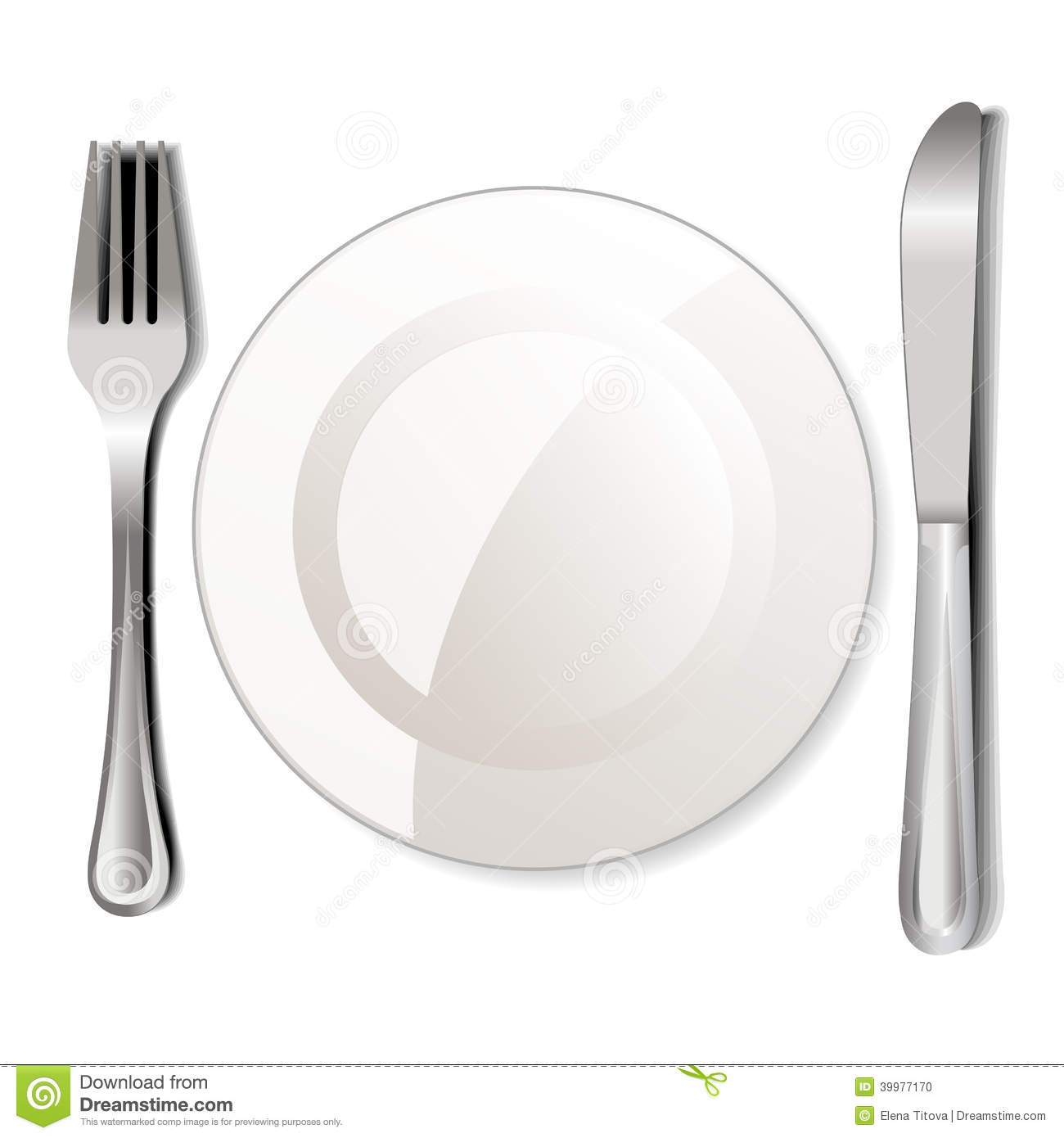 Dinner Plate Knife And Fork On A White Background Mr No Pr No 0 84 0