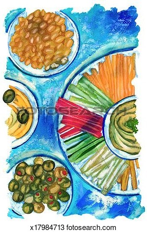 Drawing   Appetizer Buffet  Fotosearch   Search Clipart Illustration