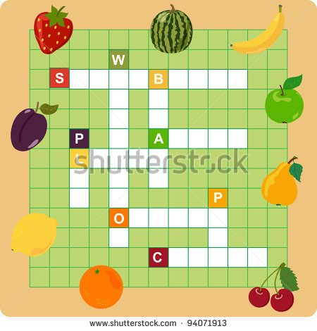 Fruit Crossword Words Game For Children   Stock Vector
