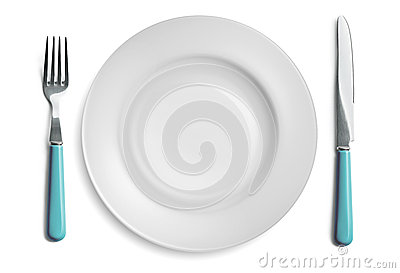 Knife And Dinner Plate Isolated On A White Background Mr No Pr No 2