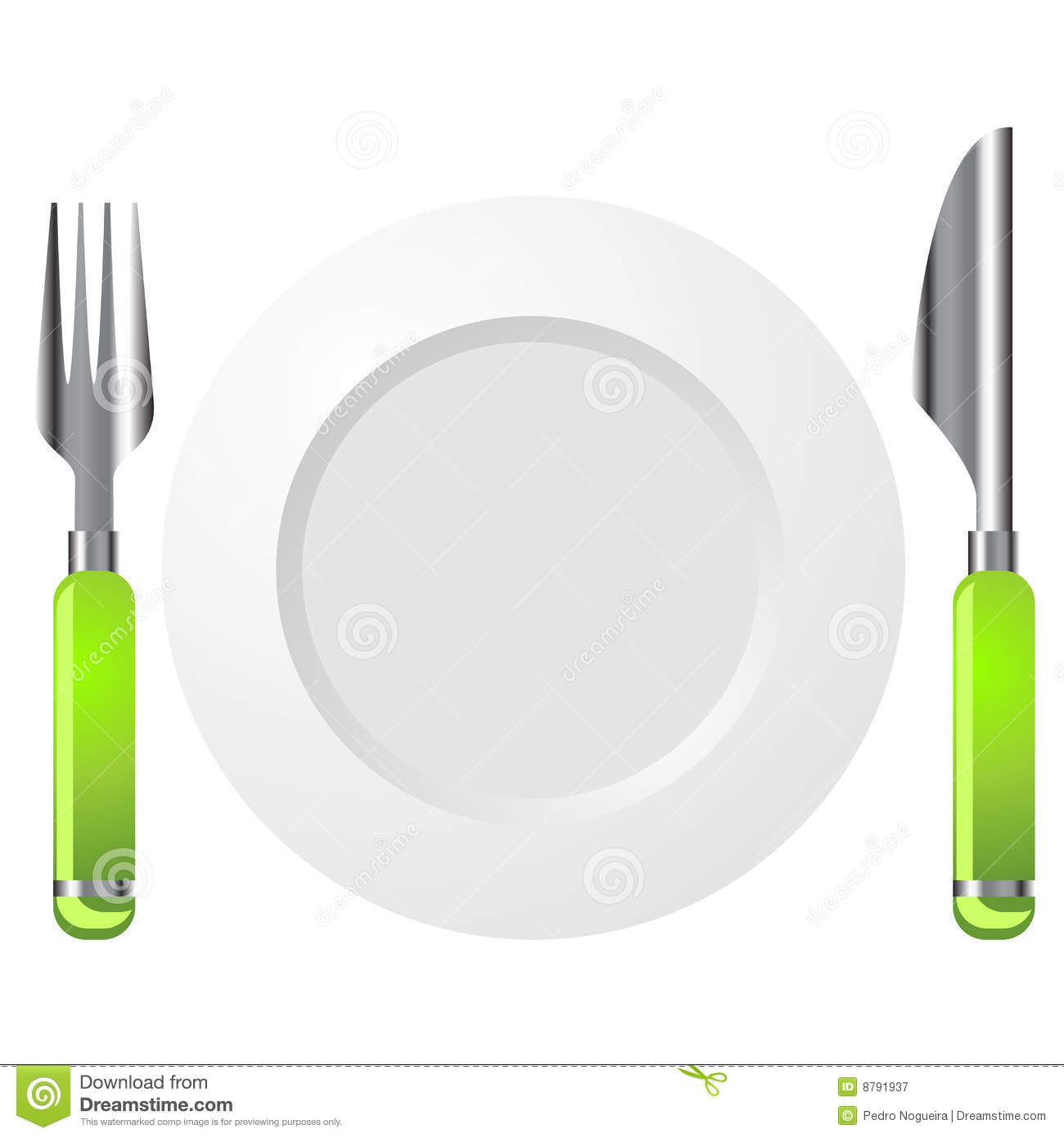 Knife Fork And Plate Isolated Over White Background Mr No Pr No 3 727