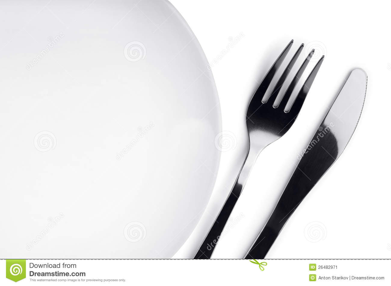 Plate With Fork And Knife On White Background Mr No Pr No 3 1028 8