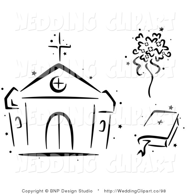 Vector Cartoon Marriage Clipart Of A Black And White Church Bouquet