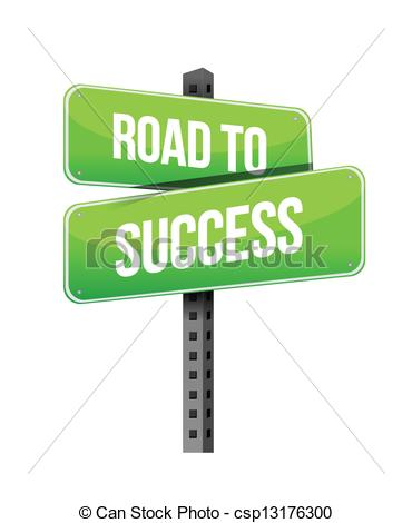 Vector Clipart Of Road To Success Sign Illustration Design Over A