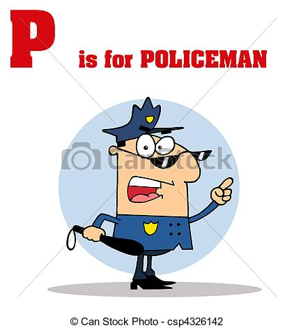 Vector Illustration Of Cop With P Is For Policeman Text   Funny