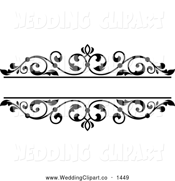 Vector Marriage Clipart Of A Black And White Floral Wedding Frame By