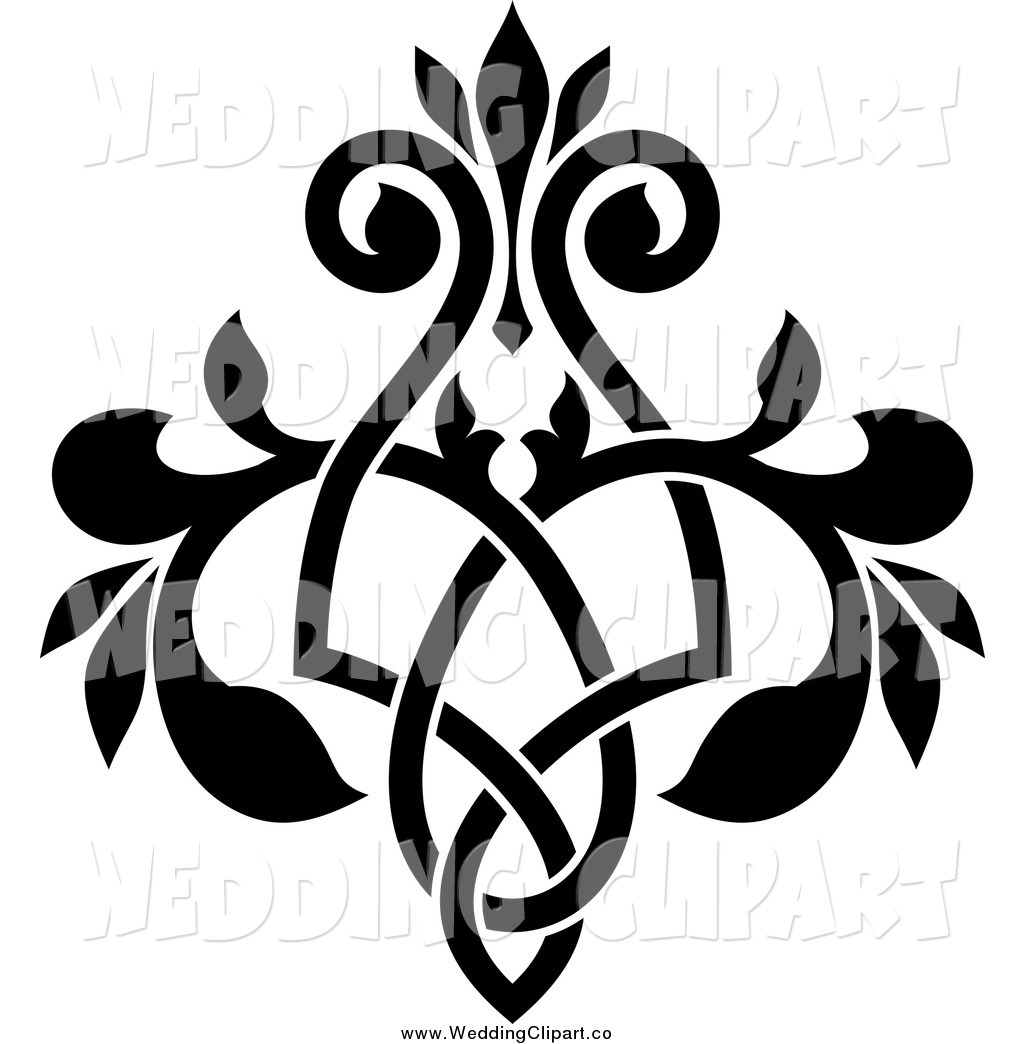 Vector Marriage Clipart Of A Black And White Ornate Floral Victorian