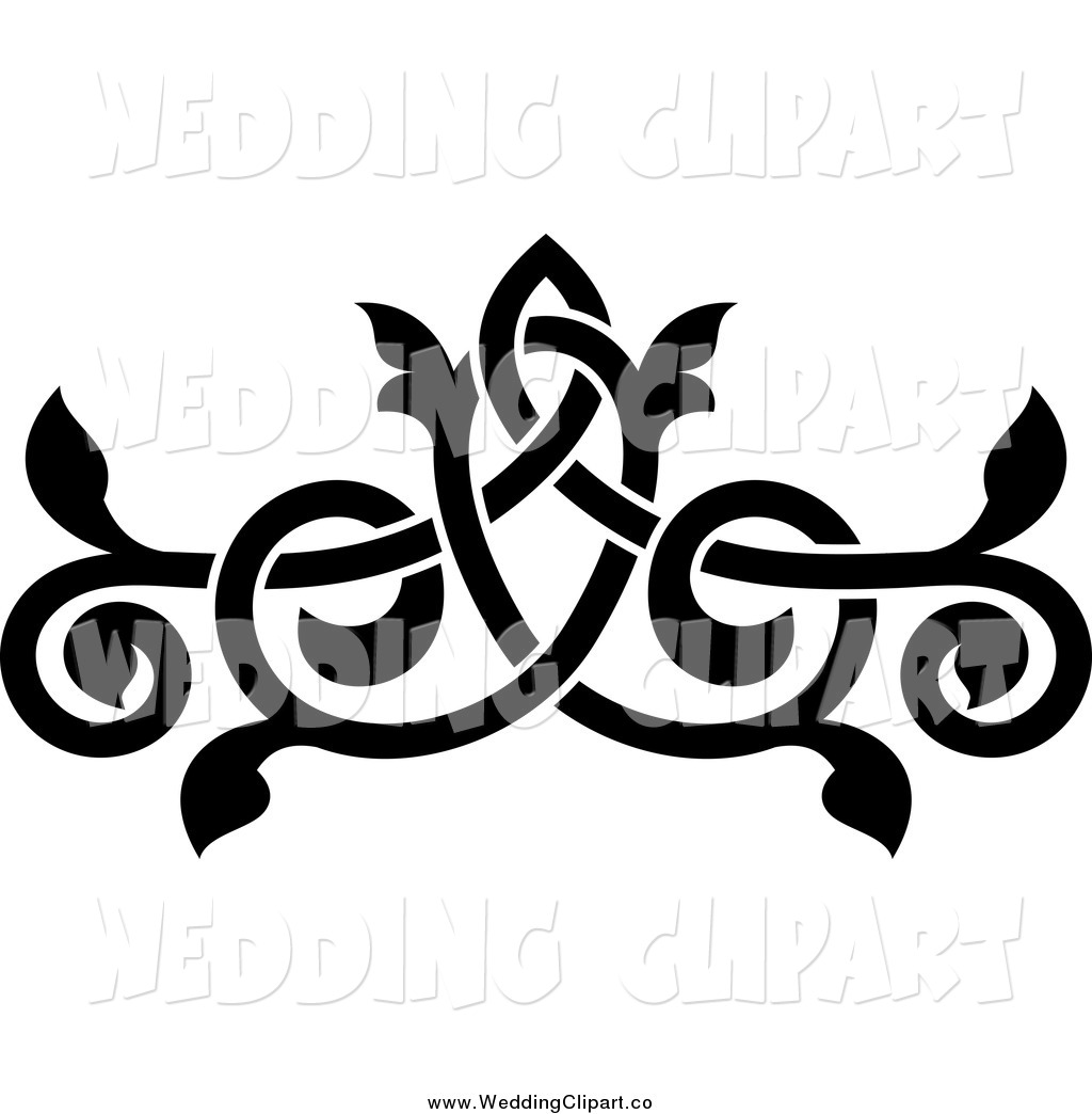 Vector Marriage Clipart Of A Black And White Ornate Floral Wedding