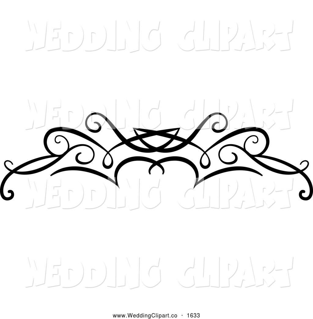 Vector Marriage Clipart Of A Black And White Wedding Swirl Flourish By