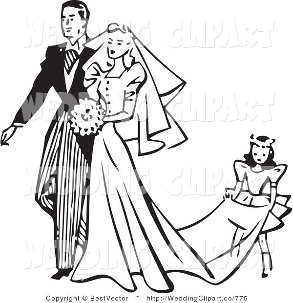 Vector Marriage Clipart Of A Wedding Retro Black And White Girl