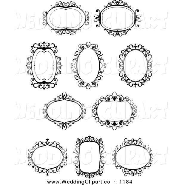 Vector Marriage Clipart Of Ornate Black And White Wedding Frames By