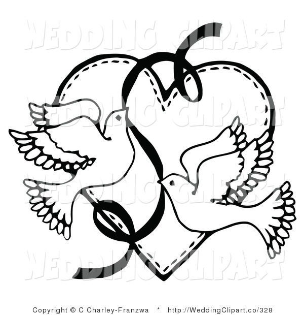 Vector Marriage Clipart Of Wedding Black And White Doves With A Ribbon