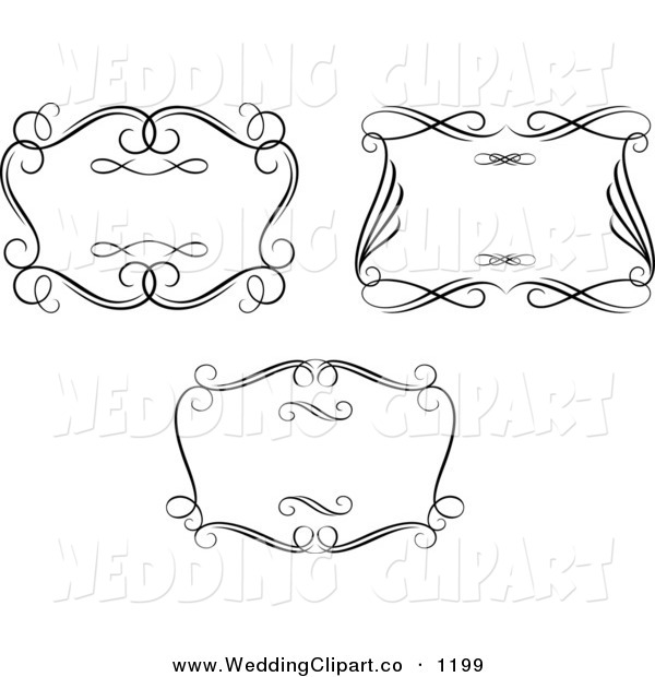 Vector Marriage Clipart Of Wedding Ornate Black And White Swirl Frames