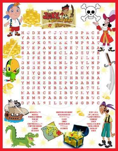 Word Search Game Jake And The Neverland Pirates Disney Birthday Party