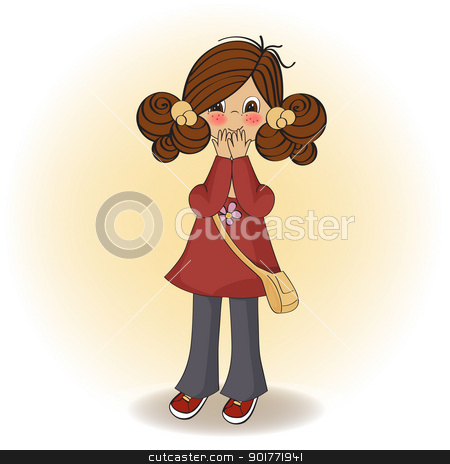 Young Girl Surprised Stock Vector Clipart Young Girl Surprised By