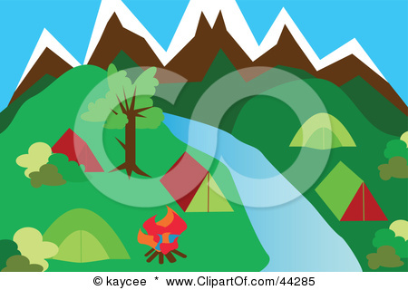 44285 Clipart Illustration Of A River Flowing Through A Campground In