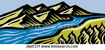 Clipart   Flowing River  Fotosearch   Search Clipart Illustration