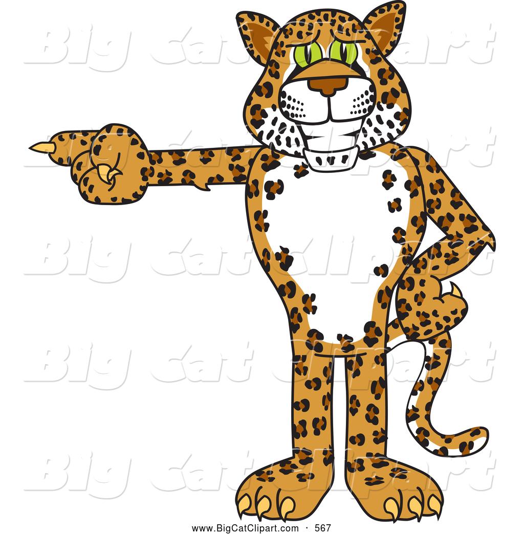 Clipart Of A Cute Cheetah Jaguar Or Leopard Character School Mascot