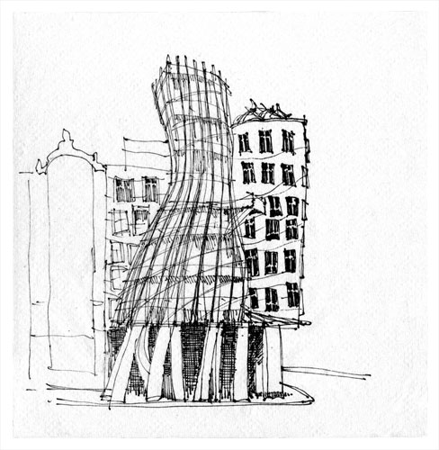 Frank gehry sketches house dancing house prague frank for Drawing of small house
