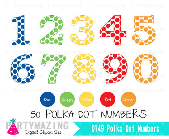 Polka Dot Number Clipart Set Primary Colors Numbers From 1 To 0 In 5