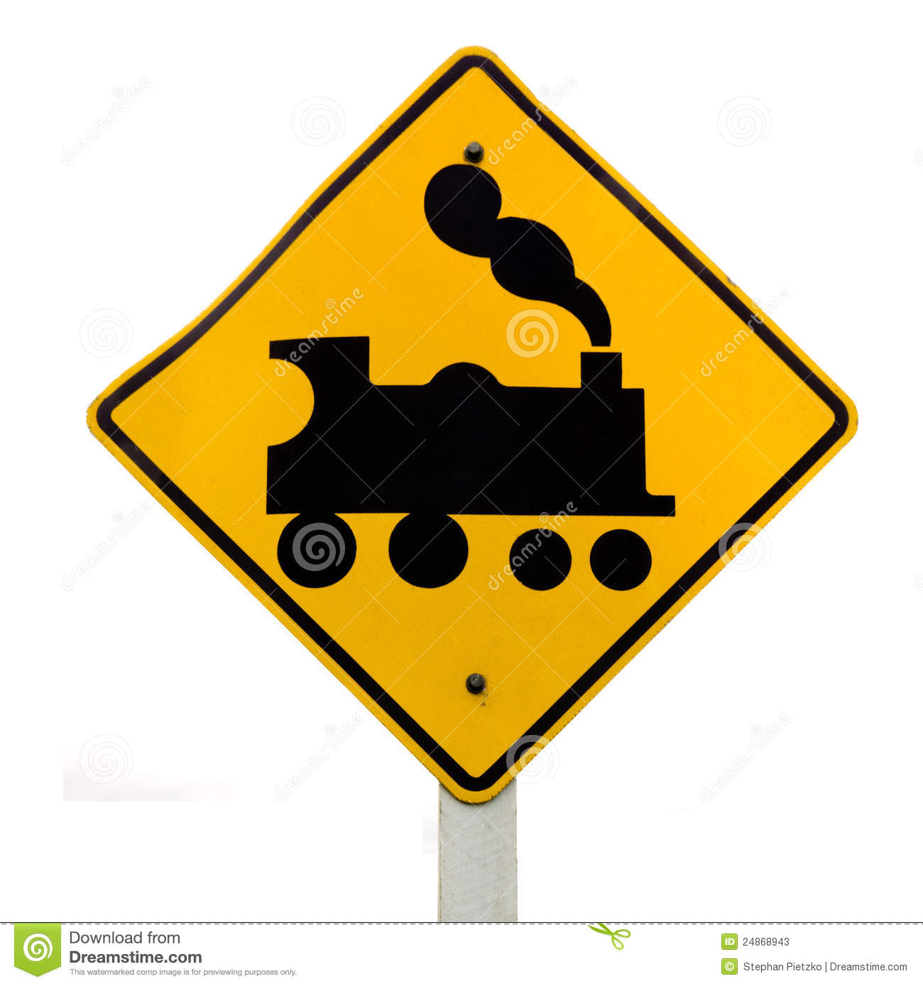 Railroad Crossing Steam Engine Roadsign On White Clipart