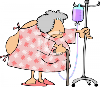 Royalty Free Clip Art Image  Old Lady In The Hospital Pushing Her Iv