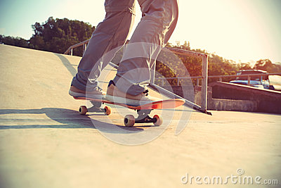 Skateboarder Legs Riding Skateboard Stock Photo   Image  55381810