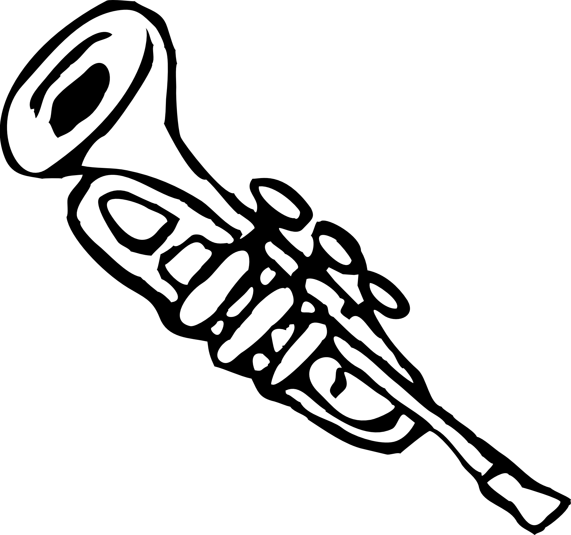Trumpet Clip Art Trumpet 3 Black White Line Art Christmas Xmas Music