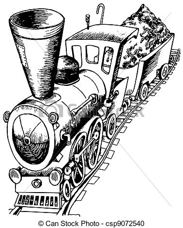 Vector   Heavy Railroad Engine   Stock Illustration Royalty Free
