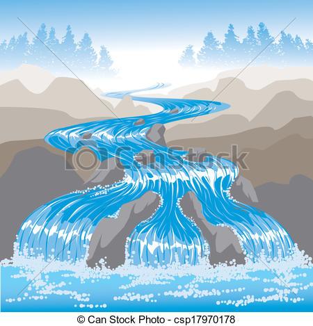 Vector   Raging River   Stock Illustration Royalty Free Illustrations