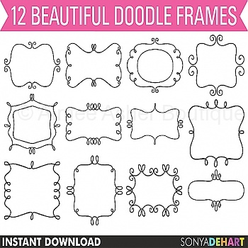 12 Beautiful Doodle Art Frames    Doodles    Clipart And Graphics