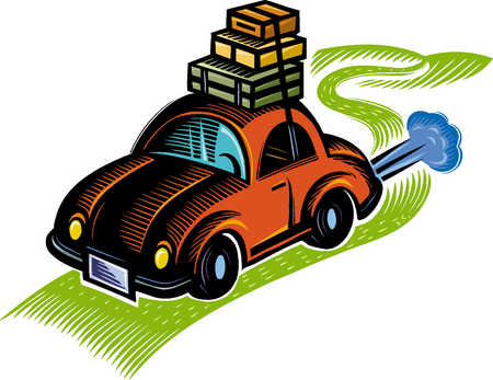 Car With Luggage Clipart Car Road Trip Clipart